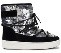 Pulse Sequin-embellished Woven And Suede Snow Boots