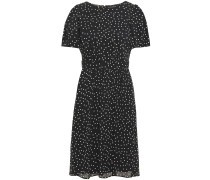Gathered Polka-dot Crepon Dress