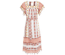 Broderie Anglaise-trimmed Embroidered Cotton-gauze Midi Dress