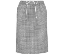 Laser-cut Prince of Wales checked jacquard and cotton-poplin midi skirt