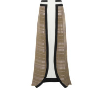 Lotus silk-jacquard and silk-crepe maxi skirt