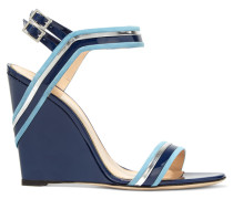 Suede-trimmed Patent-leather Wedge Sandals Navy