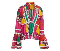 Crochet-trimmed Floral-print Cotton Top