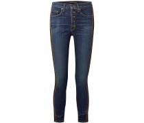 Debbie Grosgrain-trimmed Cropped High-rise Skinny Jeans