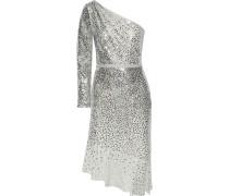 One-shoulder Embellished Metallic Tulle Dress