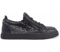 London leather and metallic suede sneakers
