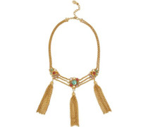 Tasseled gold-tone, stone and crystal necklace