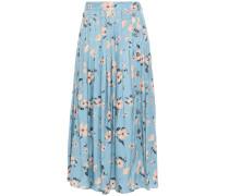 Woman Pleated Floral-print Silk-blend Satin-jacquard Midi Skirt Light Blue