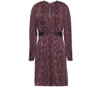 Pleated Printed Satin Mini Dress