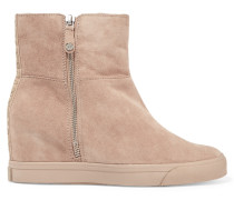 Clarissa Suede Wedge Boots Taupe