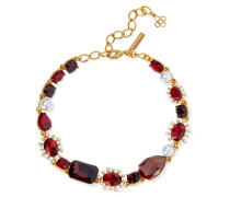 -tone, Crystal And Faux Pearl Necklace