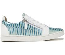 Sneakers aus Glattleder und Leder mit Eidechseneffekt mit Reißverschlussdetails