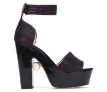 Embellished metallic knitted platform sandals