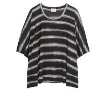 Oversized Striped Modal T-shirt Schwarz