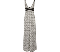Printed Silk-blend Twill Maxi Dress Weiß