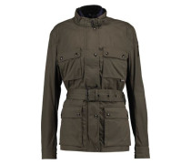 Reversible belted cotton-canvas jacket