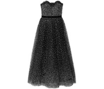 Strapless Velvet-trimmed Embellished Tulle Gown