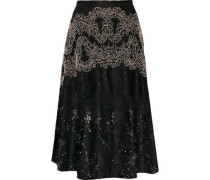 Embroidered leaver's lace midi skirt