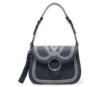 Tasseled Leather Shoulder Bag Navy