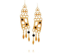 Gold-plated and cabochon earrings