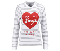 Printed Cotton Sweater Weiß