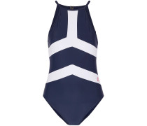 Woman Nordic Open-back Two-tone Swimsuit Navy