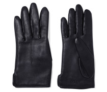Stella Wool-lined Leather Gloves Navy