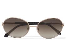 Round-frame Acetate Sunglasses Gold