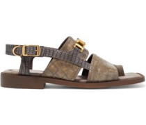 Woman Paliano Chain-trimmed Faux Croc-effect Leather Sandals Mushroom