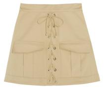 Stretch-cotton Twill Mini Skirt Beige