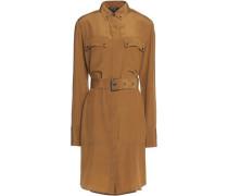 Langton belted cotton and linen-blend poplin shirt dress