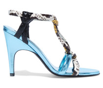 Bira Metallic Leather And Elaphe Sandals Himmelblau