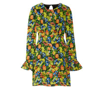 Open-back Floral-print Silk Crepe De Chine Mini Dress