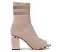 Cat Leather-trimmed Stretch-knit Sock Boots