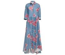 Frida Hemdkleid aus Leinen in Maxilänge mit Floralem Print und Häkelbesatz