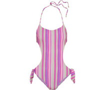 Cutout striped halterneck swimsuit