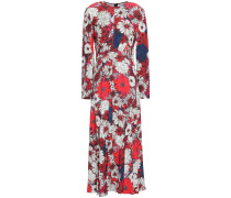 Fluted Floral-print Crepe De Chine Midi Dress