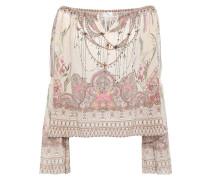 Golden Age Off-the-shoulder Embellished Silk Blouse