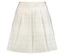 Pleated Woven Cotton-blend Mini Skirt Weiß