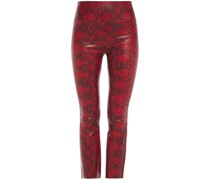 Snake-print Stretch-leather Kick-flare Pants