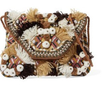 Bead-embellished embroidered cotton-canvas shoulder bag