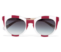 D-frame Striped Acetate Sunglasses Burgunder