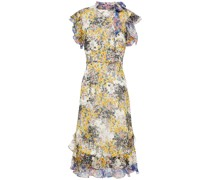 Schluppenkleid aus Georgette mit Floralem Print und Rüschen
