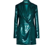 Double-breasted Metallic Velvet Blazer