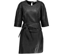 Abigail Belted Leather Mini Dress Schwarz