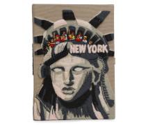 New York Appliquéd Embroidered Canvas Clutch
