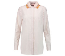 Feather-trimmed striped cotton-poplin shirt