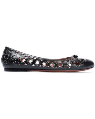 Studded Laser-cut Leather Ballet Flats Black