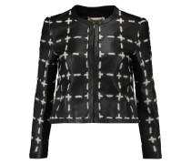 Appliquéd Leather Jacket Schwarz