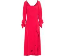 Draped Cutout Wool-crepe Maxi Dress